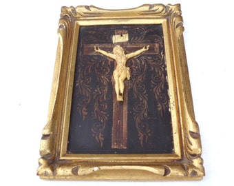 Antique French Crucifix  Golden gusso carved woodenFrame Celluloid Jesus