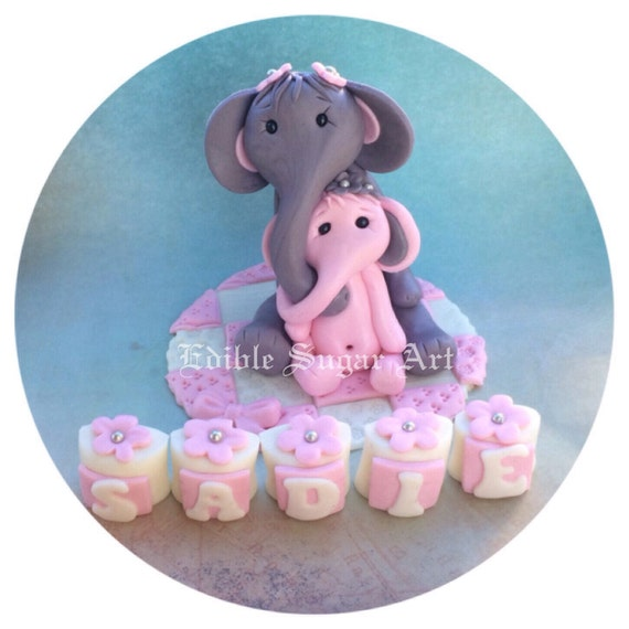 elephant baby shower cake topper safari nursery pink and grey gray
