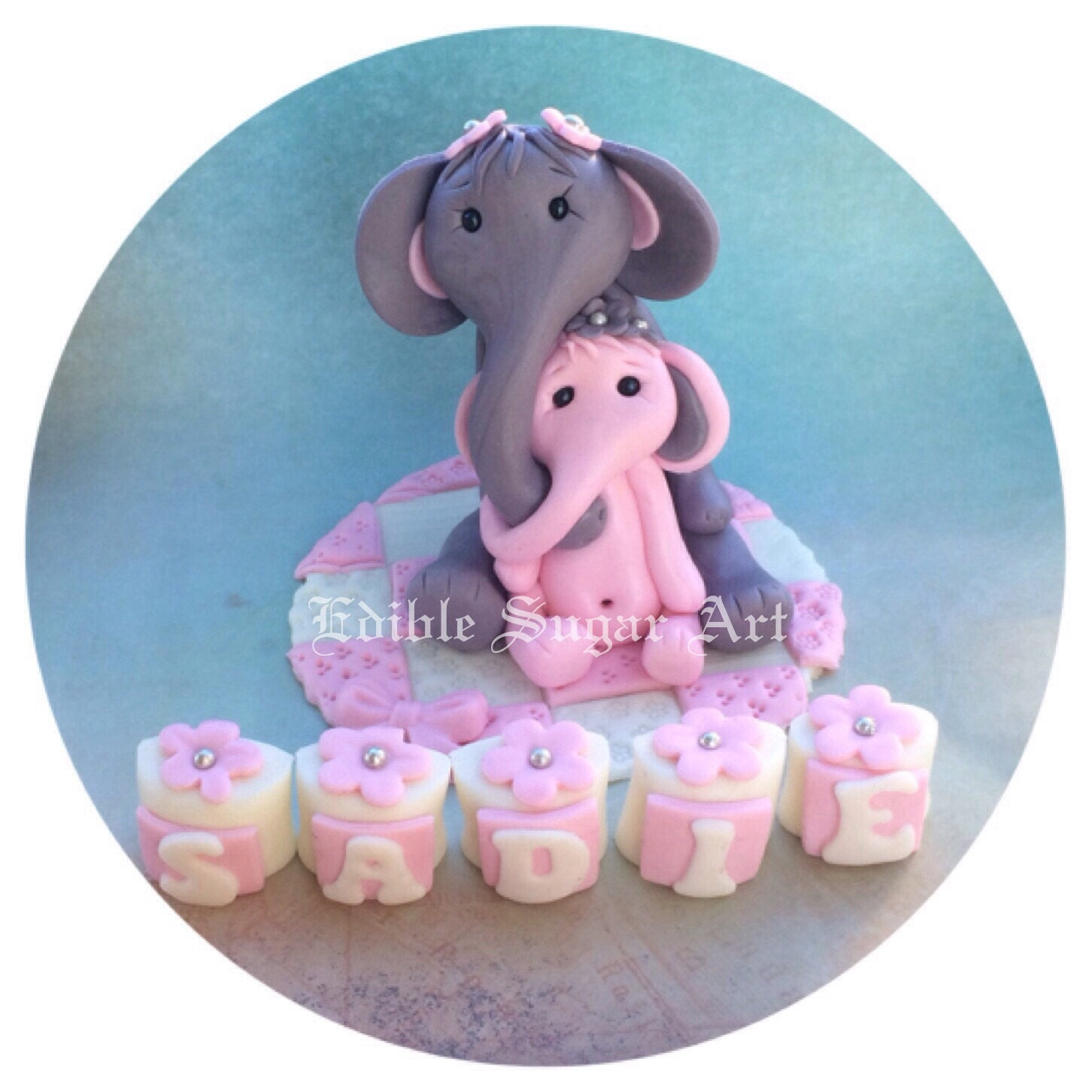 elephant baby shower cake topper safari nursery pink and grey