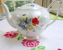 "Teapot, Queen Anne, Bone China, ""Summertime"""