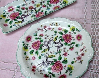 "Tea Serving Plates, 2 Pc, English, James Kent Old Foley, ""Chinese Rose"""