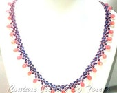 Wedding Jewelry for Brides - Bead Necklace Jewelry - Pink and Purple Right Angle Weave Hand Made Necklace - Bridesmaid Necklace