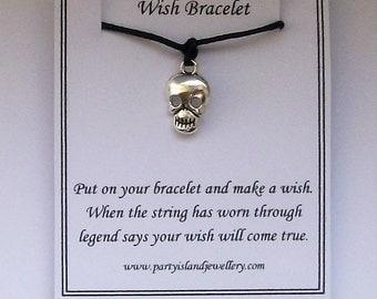 Black SKULL Friendship Wish Bracelet with Wish Message Card