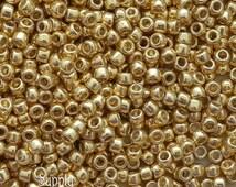 8/0 Toho PermaFinish Galvanized Starlight Seed Beads - 15 grams - 2535 - Toho 8/0 Seed Beads - Color 8-PF557 - Shiny Gold 8/0 Seed Beads