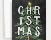 Christmas Card - Christmas Tree Card - Christmas Cards - Unique Christmas Card - Chalk Art - Hand Lettered Holiday