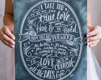Wedding Print - Paper Anniversary Gift - Wedding Vows - Chalkboard Wedding Art - Hand Lettering