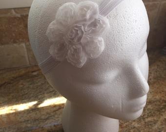 White Shabby Chiffon Flower Headband, Baby Girl Wedding Headband, Infant Headband, Toddler Girl Headband, Girl Headband, Women Headband