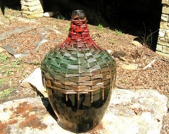 Antique Woven Wicker wrapped Italian Wine Bottle Jug Demijohn 0737 et