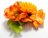 Bright Bold Orange Rose Floral Hair Comb Tangerine Summer Bridal Flower Accessory