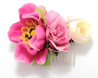 Bright Pink Rose Mixed Floral Hair Comb/ Fuchsia /Vintage Style/ Bridal/ Wedding Hair Accessories/ Bridesmaid Hair Piece/