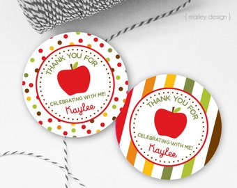 Apple Favor Tags Personalized Apple Tags Apple Thank You Tags Printable Tags Apple Labels Apple Favors Apple Birthday Tags Apple Party Decor