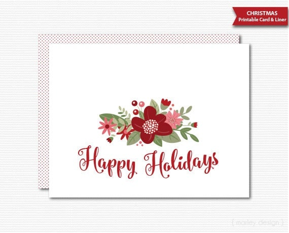 Printable christmas card holiday greeting card happy holidays floral il570xn m4hsunfo