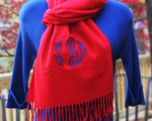 Woman's Monogrammed Red Cashmere Feel Long Scarf is a Classic Accessory that can be Worn with a Sweater, T-shirt or a Coat! Ships in 3 Days!