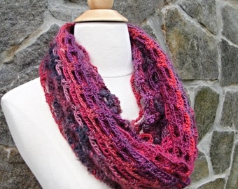 Soft Infinity scarf - Hand knitted scarf - Crochet scarf  - Neck scarf - Cowl - Multicolored -Wine - Purple