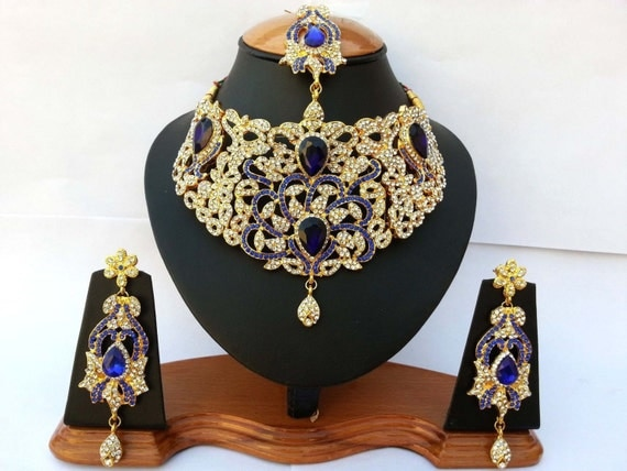 Items similar to Indian Jewellery Set Handmade Gold Alloy and