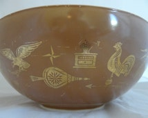 Vintage Pyrex Federal Eagle Cinderella Mixing Bowl #444 - 4 Quart Pyrex Bowl - Eagle - Rooster - Weather Vane  - Coffee Grinder