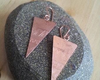 Aztec Etched Copper Drop Earrings