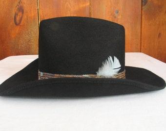 ROCK MOUNT Black Wool Western Cowboy Hat Ranch Wear High Step 1700 men's size 6 7/8 Authentic western wear excellent vintage condition.