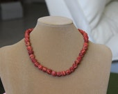 Red Sponge Coral Necklace, Real Coral, Coral necklace, Red beads, Birthday or Christmas gift, 17 3/4 Inch Necklace of 10mm Coral Beads