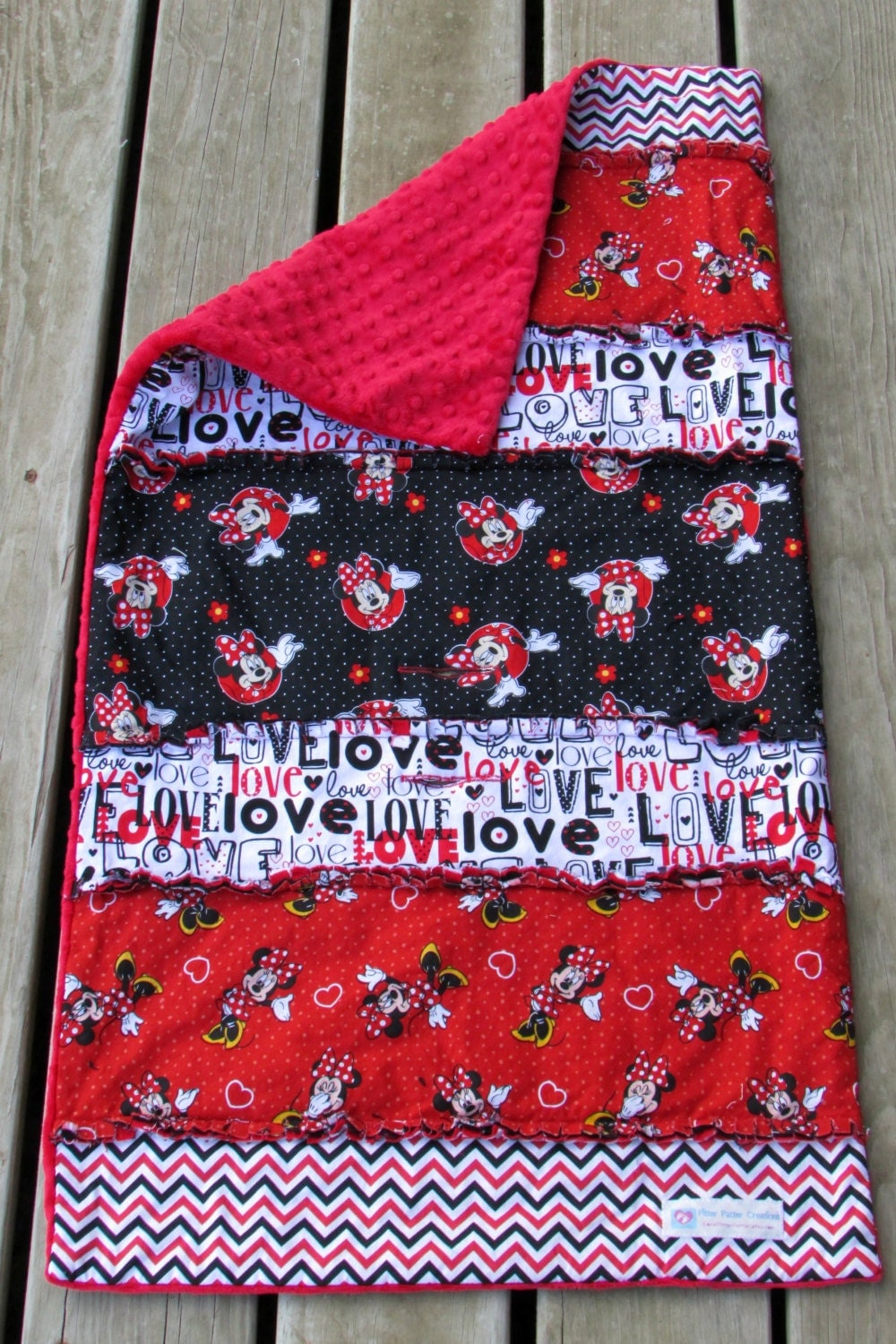 Rag Quilt Throw Minky Blanket Personalized Minnie Mouse