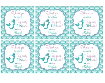 Mermaid Party FAVOR TAGS Customize Name