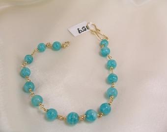 Amazonite 4.5mm bracelet gold filled wirewrapped aqua item 859