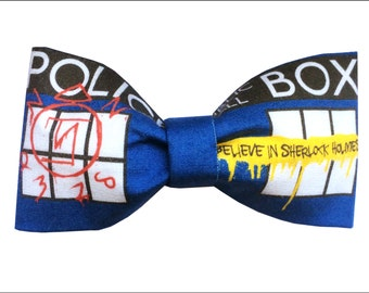 SuperWhoLock Inspired Supernatural Doctor Who Sherlock Hair Bow or Bow Tie Geeky Fabric Bow