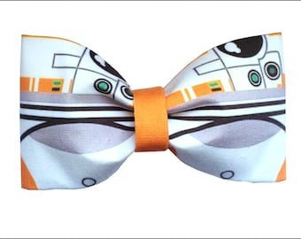 BB-8 Droid Inspired Star Wars Force Awakens Hair Bow or Bow Tie Episode VII BB8 Geeky Fabric Bow