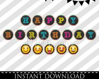 INSTANT DOWNLOAD -Emoji Happy Birthday Banner