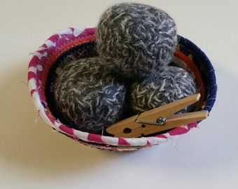 dryer balls- set of four felted wool dryer balls with free 'holy scrap' storage bowl