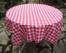 Vintage red check tablecloth, rectangle tablecloth, picnic tablecloth, mid century, outdoor tablecloth