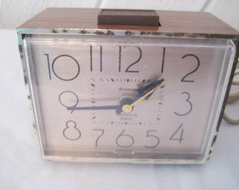 Electric clock, alarm clock, Westclox dialite, made in USA, 60s mid century,  plug in clock, bedroom clock, 1428