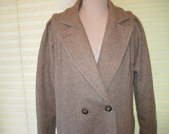 80s long coat, gray herringbone coat, warm winter wool coat, Stephen Mathews, made in USA, size medium