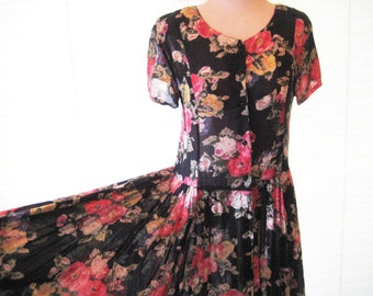 Rockabilly Floral garden party dress, fit to flair, 80s dress, black with pink, orange,red, cream, green flowers, tea party, medium to large