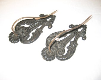 Antique receipt holder,  country store,  metal ornate ticket holder, wall mount