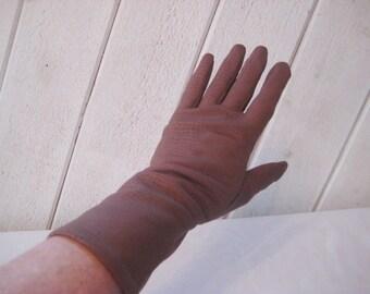 Vintage brown gloves, driving gloves, lined, faux alligator gloves, size 7