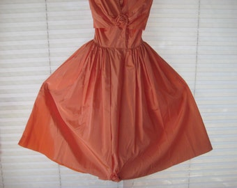 Apricot prom dress, orange evening party dress, peach formal dress, tea garden party dress, 40s or 50s, fit to flair, size small