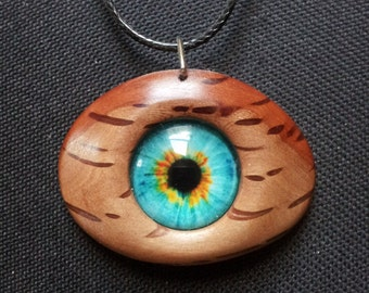 Dragon Eye in Reclaimed She Oak Wood Necklace + Free Shipping Worldwide ~ Dragon Eye Jewelry, Eye Necklace,  Reclaimed Wood