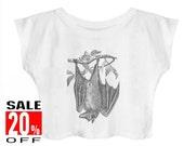 Bat shirt animal shirt graphic tops women shirt crop top cropped shirt