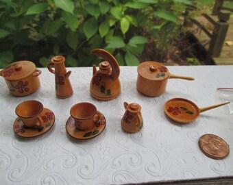 Miniature Wooden Cookware Set Hand Painted Made in Peru 15 Pieces Tea Set