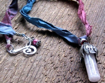 Rose Quartz Sari Silk Ribbon Necklace Bohemian Jewelry