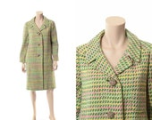 Vintage 60s 70s Mod Wool Tweed Coat 1960s 1970s Atomic Check Pastel Jacket Carnaby Street Princess Jackie O Dress Swing Coat / Medium