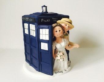 Doctor Who Theme Wedding Cake Topper with Tardis - Custom made bride and groom inside tardis wedding cake topper