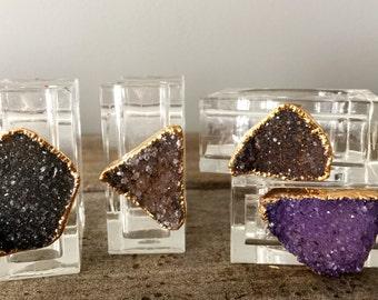 Gold Rimmed Druzy Napkin Rings