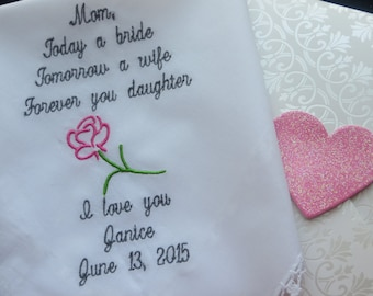 Embroidered Wedding Handkerchief for Mom/Wedding Gift For Mother Of Bride/Custom words Hankie. Free Matching Gift Box Included.