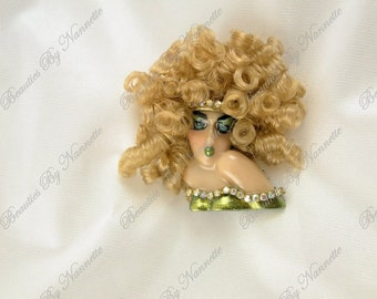 Lady Face Pin Head Porcelain Look Resin  Brooch OOAK Woman Flapper Showgirl Good Golly Miss Molly