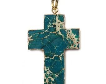 Green Jasper Cross Pendant, Gold, 50x23mm - 1 piece
