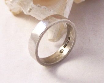 Vintage Sterling Silver Band Ring, Hammered Silver Band Ring, Hammered Silver Band, 925 Band, Sterling Silver Band, K, 5.5