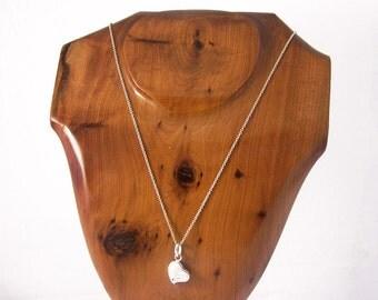 Vintage Silver Heart Pendant Necklace, Silver Heart Necklace, Heart Necklace