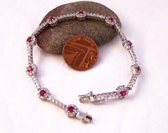 Vintage Ruby and CZ Bracelet, 925 Silver Ruby Bracelet, Synthetic Ruby Bracelet, Red and White Bracelet, Sterling Silver Bracelet